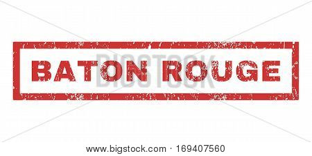 Baton Rouge text rubber seal stamp watermark. Caption inside rectangular banner with grunge design and dirty texture. Horizontal vector red ink sticker on a white background.