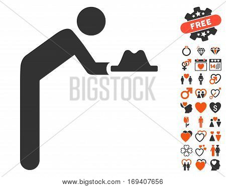 Servant With Hat icon with bonus valentine icon set. Vector illustration style is flat iconic orange and gray symbols on white background.
