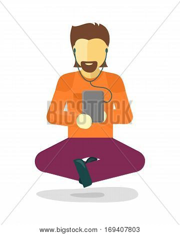 Young man in lotus pose listening music with smartphone. Man meditating in lotus pose. Zen man in yoga pose. Private man icon. Music meditates. Isolated object in flat design on white background.
