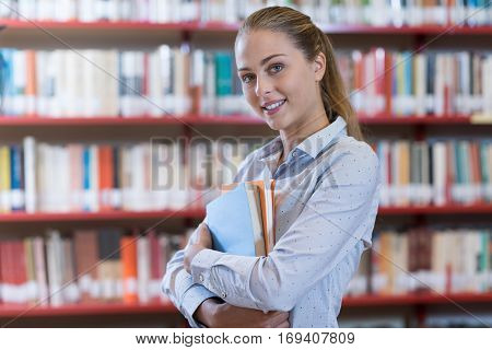Confident Student At The Library