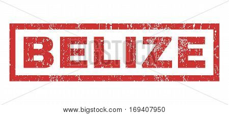 Belize text rubber seal stamp watermark. Tag inside rectangular shape with grunge design and unclean texture. Horizontal vector red ink emblem on a white background.