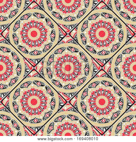 Colorful floral seamless pattern from different rhombus with mandala in patchwork boho chic style, in portuguese and moroccan motif