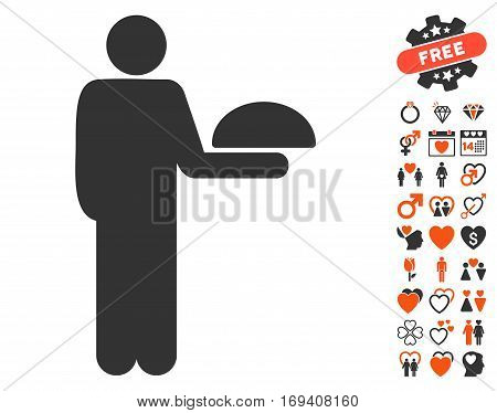 Standing Waiter pictograph with bonus lovely design elements. Vector illustration style is flat iconic orange and gray symbols on white background.