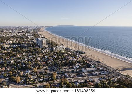 Aerial view of Santa Monica and Los Angeles in Southern California.