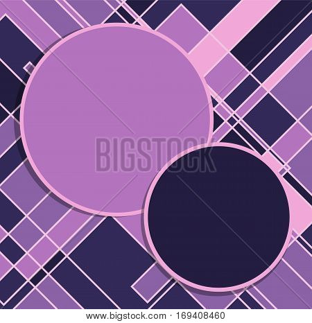 Purple circles and squares abstract background. Backdrop template. Vector illustration.