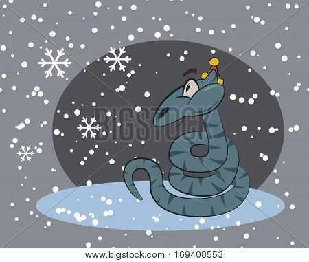 Snake surprised by winter snow. Fun humor cute snake character. Vector illustration