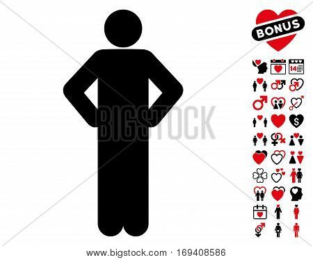 Akimbo Pose icon with bonus lovely pictograms. Vector illustration style is flat iconic intensive red and black symbols on white background.