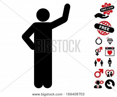 Assurance Pose icon with bonus lovely symbols. Vector illustration style is flat iconic intensive red and black symbols on white background.