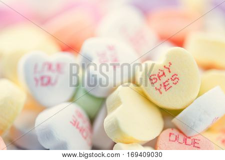 Colorful heart shaped candies for Valentines Day