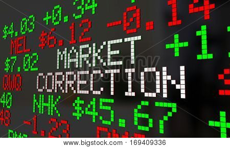 Market Correction Stock Prices Fall Ticker Adjustment 3d Illustration