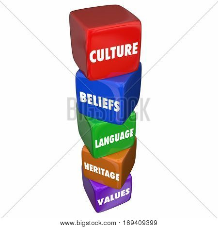 Culture Language Beliefs Heritage Values Cubes 3d Illustration