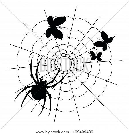 Vector spider on the net on the white background with three caught butterflies