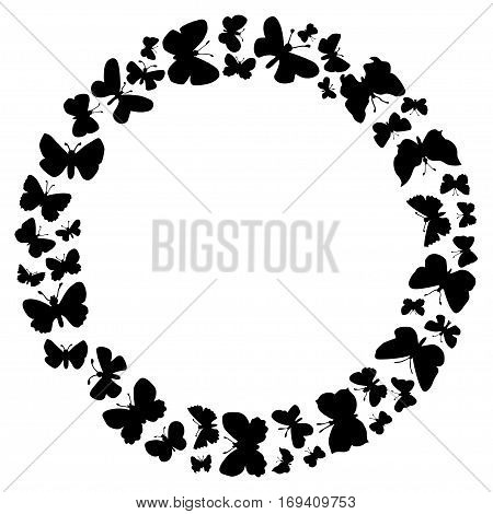 Round Frame Of Flying Butterflies.