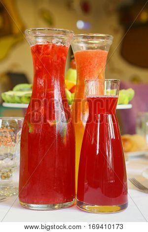 Transparent Glass Jars With Fruit Drink
