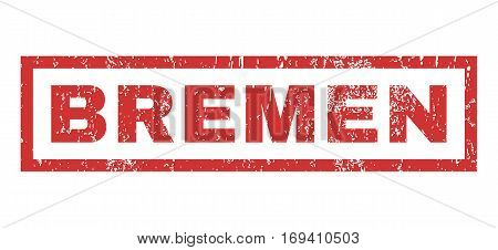 Bremen text rubber seal stamp watermark. Caption inside rectangular banner with grunge design and scratched texture. Horizontal vector red ink sign on a white background.