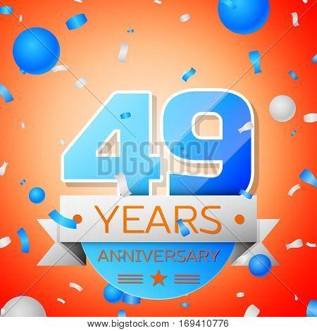 Forty nine years anniversary celebration on orange background. Anniversary ribbon