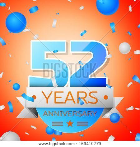 Fifty two years anniversary celebration on orange background. Anniversary ribbon