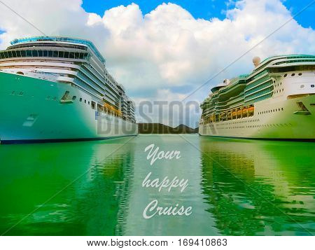 Cruise ship in open water side view with copy space