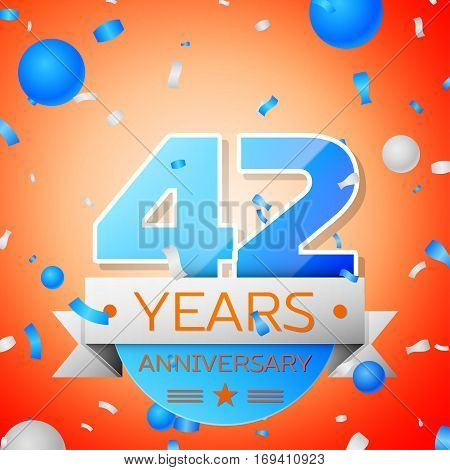 Forty two years anniversary celebration on orange background. Anniversary ribbon