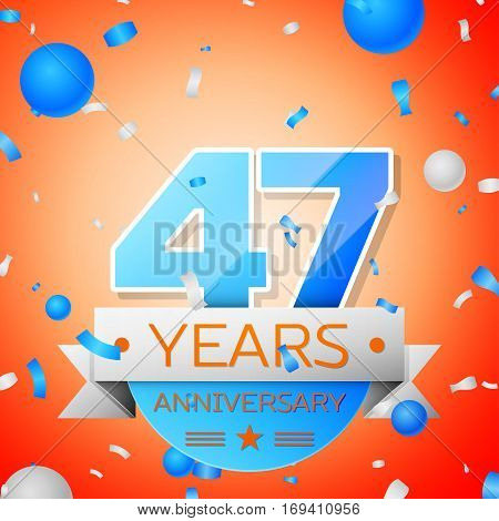 Forty seven years anniversary celebration on orange background. Anniversary ribbon