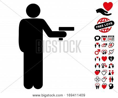 Robber With Gun pictograph with bonus dating graphic icons. Vector illustration style is flat iconic intensive red and black symbols on white background.
