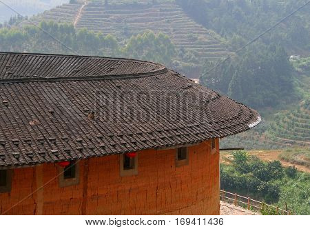 roof of Tulou traditional dwelling ethnic Hakka