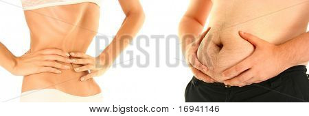 lean and fat isolated on white