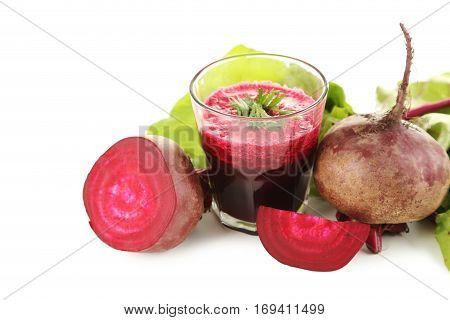 Fresh Beets Juice In Glass Isolated On A White Background