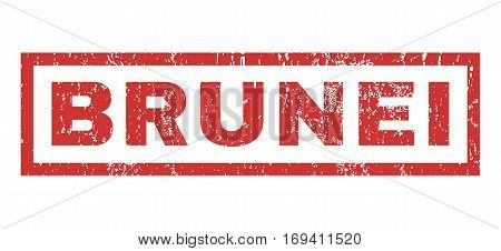 Brunei text rubber seal stamp watermark. Tag inside rectangular shape with grunge design and unclean texture. Horizontal vector red ink emblem on a white background.