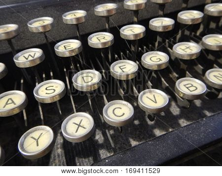 Detail Of An Old Type Writer Keyboard