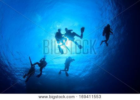 Scuba dive. Scuba divers silhouette against sun. Scuba diving underwater
