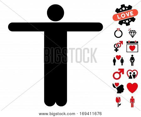 Scarecrow Pose pictograph with bonus valentine images. Vector illustration style is flat iconic intensive red and black symbols on white background.