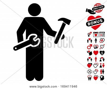 Serviceman pictograph with bonus lovely images. Vector illustration style is flat iconic intensive red and black symbols on white background.