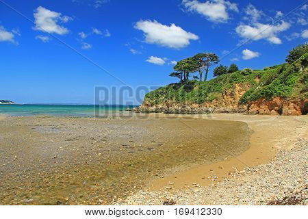 Atlantic Ocean coast with blue sky, Brittany, France