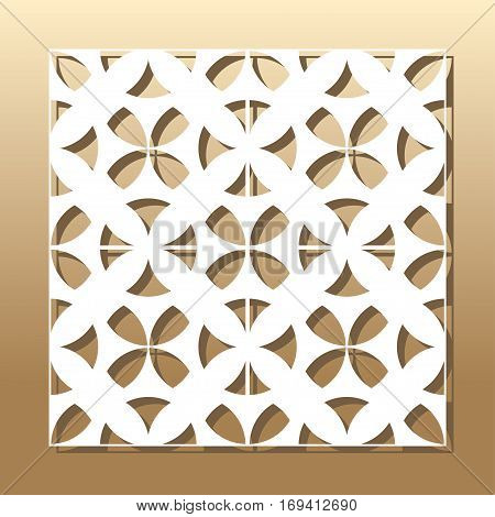 Die cut card. Laser cut vector panel. Cutout silhouette with botanical pattern. A picture suitable for printing, engraving, laser cutting paper, wood, metal, stencil manufacturing. poster