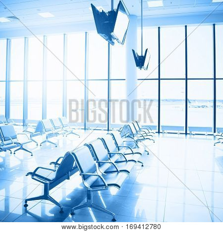 Waiting room in airport. Toned image