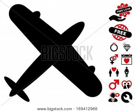 Aeroplane pictograph with bonus valentine icon set. Vector illustration style is flat iconic intensive red and black symbols on white background.