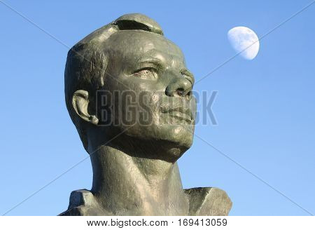 Monument to Yuri Gagarin in the Alley of Cosmonauts Moscow Russia