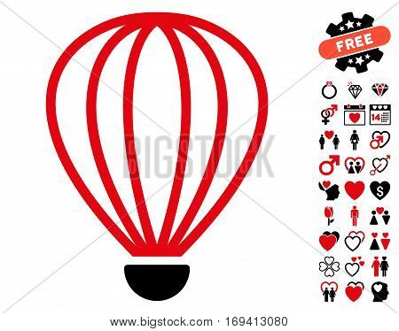 Aerostat icon with bonus lovely pictograms. Vector illustration style is flat iconic intensive red and black symbols on white background.