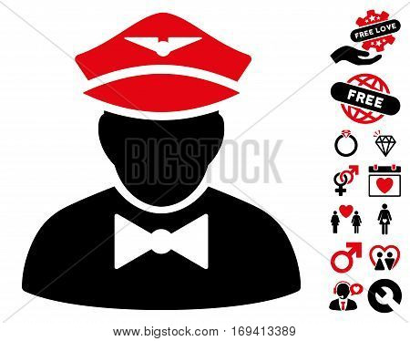 Airline Steward pictograph with bonus lovely design elements. Vector illustration style is flat iconic intensive red and black symbols on white background.