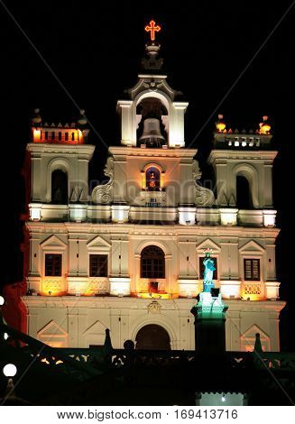 Night view of Our Lady of the Immaculate Conception Church Panaji GOA India