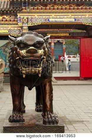 bronze lion in Dazhao Temple Hohhot Inner Mongolia