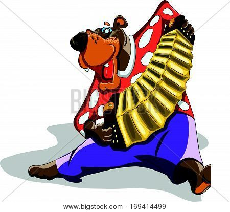 Funny bear plays the accordion and dancing, illustration