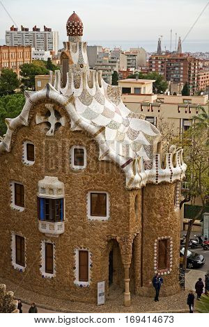 gaudi house at edge of park guell in barcelona, spain. designed by antoni gaudi.