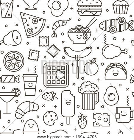 Vector seamless pattern with outlined iconic illustration of restaurant and fast food like coffee pizza wafer burger ice cream and Chinese plates. Black and white line art.