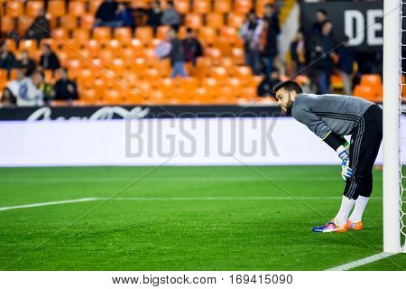 VALENCIA, SPAIN - JANUARY 3: Sergio Alvarez during King Cup soccer match between Valencia CF and Celta de Vigo at Mestalla Stadium on January 3, 2017 in Valencia, Spain