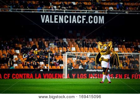 VALENCIA, SPAIN - JANUARY 3: Mascot of Valencia during King Cup soccer match between Valencia CF and Celta de Vigo at Mestalla Stadium on January 3, 2017 in Valencia, Spain