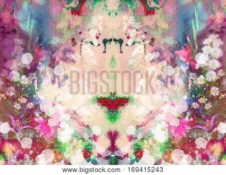 Abstract ink painting combined with field flowers on paper texture - floral grunge - symmetrical design composition