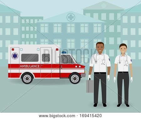Paramedics ambulance team and ambulance car on cityscape background. Male and female emergency medical serviice employee. Hospital staff concept. Flat style vector illustration.
