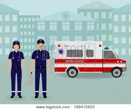 Paramedics ambulance team with ambulance car and cityscape. Male and female emergency medical serviice employee in uniform. Hospital staff concept. Flat style vector illustration.